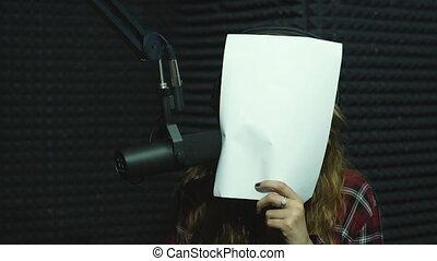 beautiful girl dj radio hamming and smiling on camera