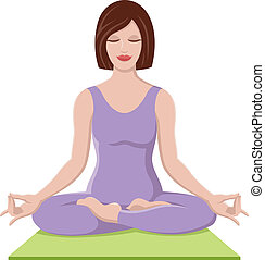 Vector illustration of a beautiful woman doing yoga in the lotus position.