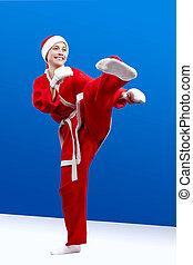 Beautiful girl dressed as Santa