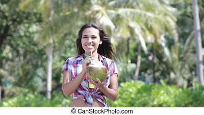 Beautiful Girl Drink Coconut Cocktail Over Palm Trees, Happy...