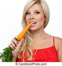 girl eating vitamin rich carrot
