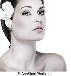 Beautiful  girl, emotions, cosmetics