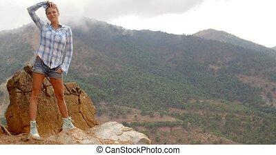 Girl Enjoys Spanish Mountains - Beautiful Girl Enjoys...
