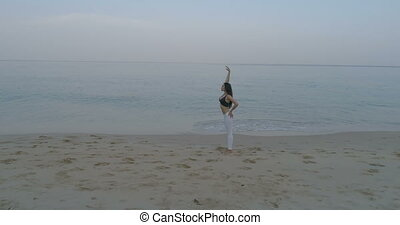 Beautiful girl exercising on the sandy beach - Aerial view...