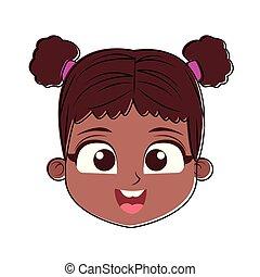 Beautiful girl face cartoon