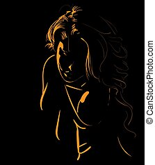 Beautiful girl face silhouette in backlight. Illustration.