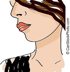 Beautiful girl face. Sketch female. Vector illustration