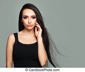 Beautiful Girl Fashion Model with Long Healthy Hair, Portrait