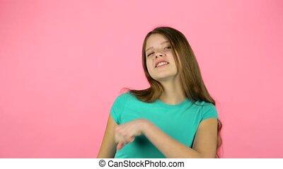 Beautiful girl feeling happy and satisfied. - Beautiful...