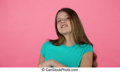 Beautiful girl feeling happy and satisfied. Slow motion -...