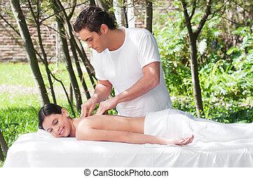 Beautiful girl getting a massage