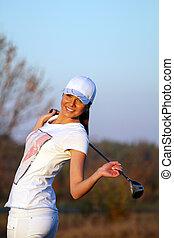 beautiful girl golfer