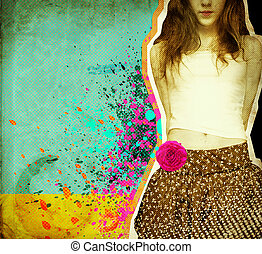 Beautiful girl .Grunge background on old paper for text