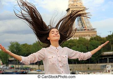 Beautiful girl have fun in the Paris