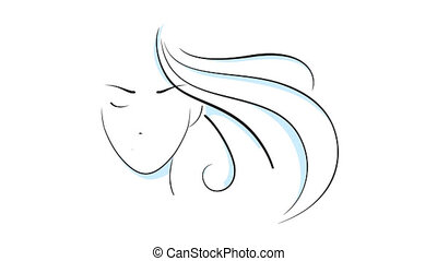 Beautiful girl head animation in PNG format with ALPHA...