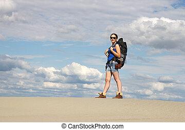 beautiful girl hiker in desert