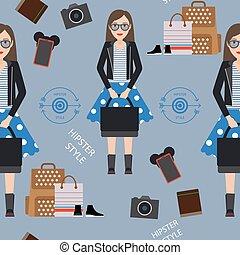 Beautiful girl hipster seamless pattern