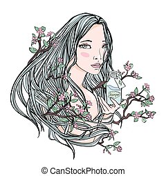Beautiful girl holding a bottle of cosmetics. Blooming Sakura in her hair - a symbol of natural cosmetics. Vector illustration, isolated on white.