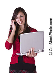 Beautiful Girl Holding a Laptop