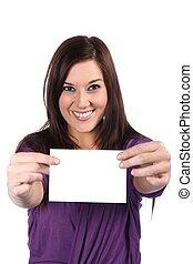 Beautiful Girl Holding Blank Sign
