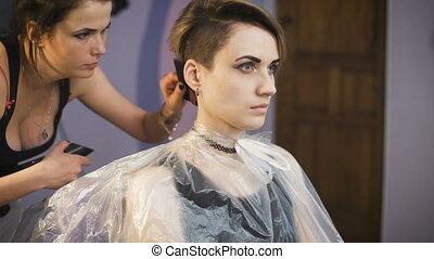 Beautiful girl in a beauty salon.