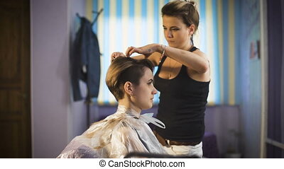 Beautiful girl in a beauty salon. Professional stylist makes to the woman a new stylish haircut.