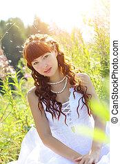 Beautiful girl in a dress