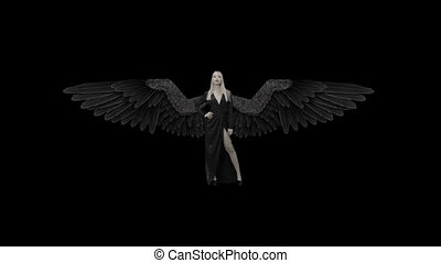 Beautiful girl in a dress with black wings on a alpha channel