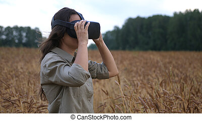 Beautiful girl in a golden wheat field uses virtual reality glasses