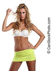 beautiful girl in a miniskirt