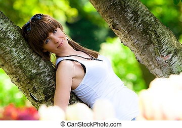 Beautiful girl in a park