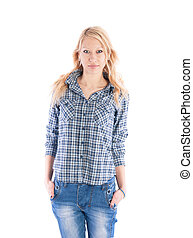 Beautiful girl in a plaid shirt and jeans on white background.