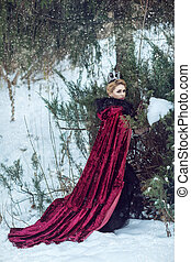 Beautiful Girl in a Raspberry Cloak and Crown in the Woods