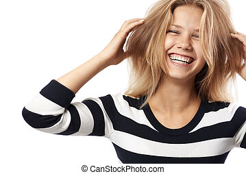 beautiful girl in a striped sweater laughing - girl in a...