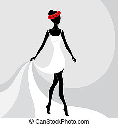 Beautiful girl in a white dress