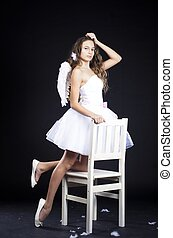 beautiful girl in angel costume