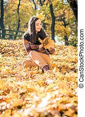 beautiful girl in autumn Park