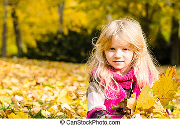 beautiful girl in autumn time