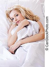 beautiful girl in bedroom