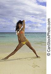 beautiful girl in bikini at lanikai beach