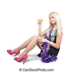 acbb7a1c9266 Girl in sexy new year toast bw shot. Black and white girl with ...