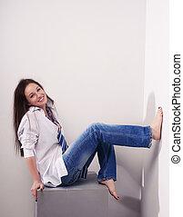 Beautiful girl in blue jeans