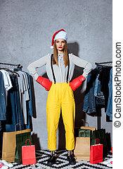 girl in boxing gloves and santa hat