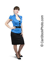 Beautiful girl in business outfit, isoalted over white