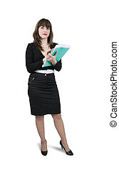Beautiful girl in business outfit with documents - Isolated ...