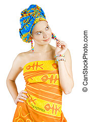 beautiful girl in colorful clothes holding her earring