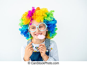 Beautiful girl in colorful wig