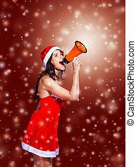 girl in costume of Santa Claus