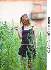 Beautiful Girl in Grass