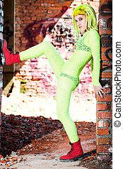 beautiful girl in green